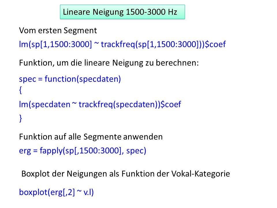 Lineare Neigung 1500-3000 HzVom ersten Segment. lm(sp[1,1500:3000] ~ trackfreq(sp[1,1500:3000]))$coef.
